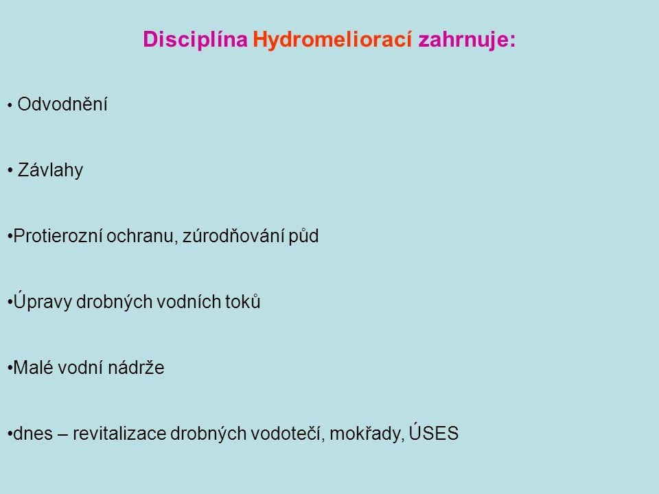 Disciplína Hydromeliorací zahrnuje: