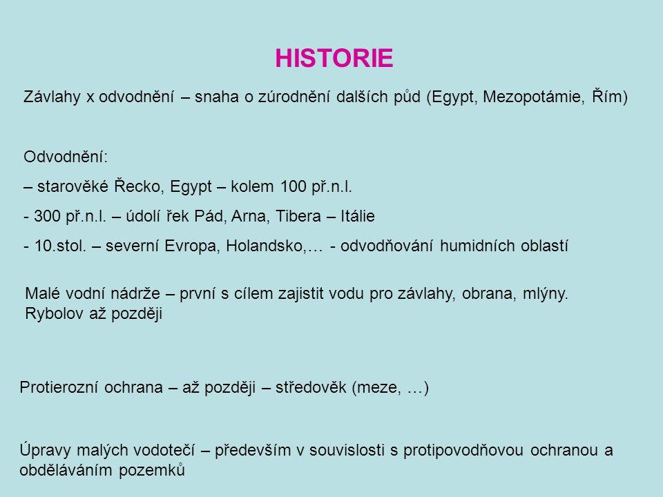 HISTORIE Závlahy x odvodnění – snaha o zúrodnění dalších půd (Egypt, Mezopotámie, Řím) Odvodnění: – starověké Řecko, Egypt – kolem 100 př.n.l.