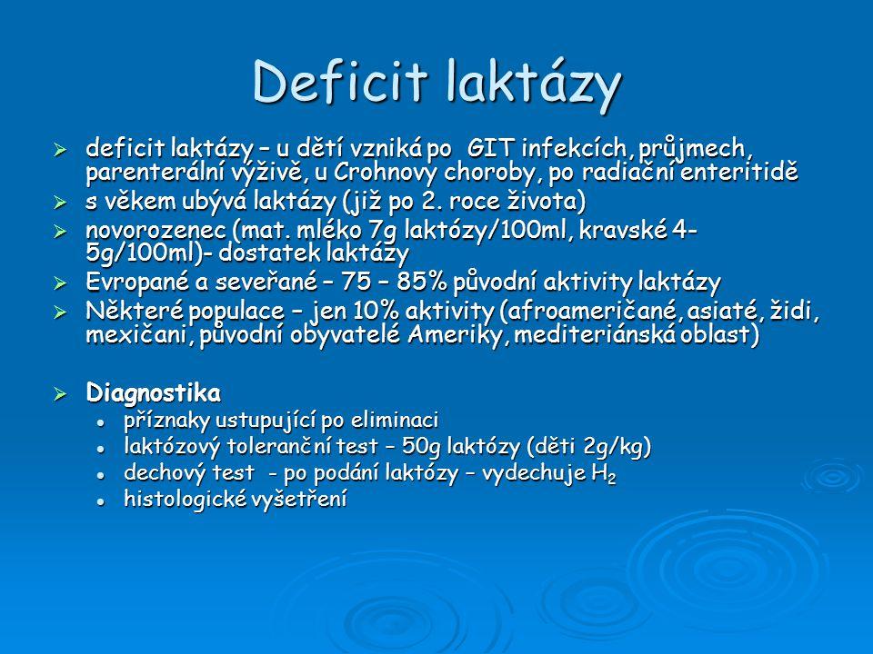 Deficit laktázy deficit laktázy – u dětí vzniká po GIT infekcích, průjmech, parenterální výživě, u Crohnovy choroby, po radiační enteritidě.