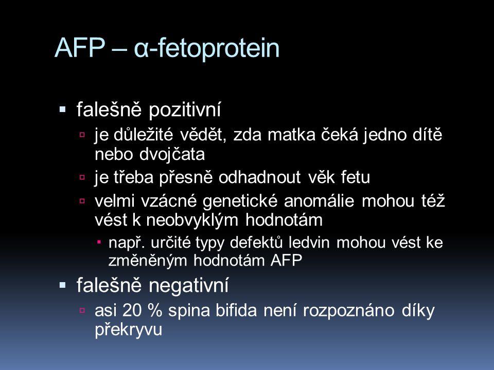 AFP – α-fetoprotein falešně pozitivní falešně negativní