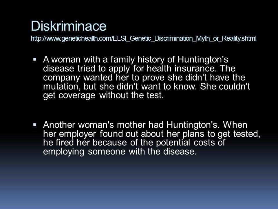 Diskriminace http://www. genetichealth