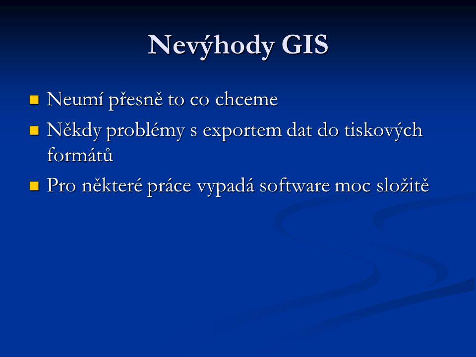 Nevýhody GIS Neumí přesně to co chceme