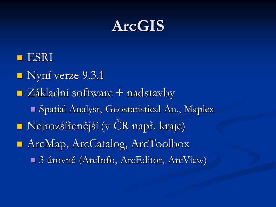 ArcGIS ESRI Nyní verze 9.3.1 Základní software + nadstavby
