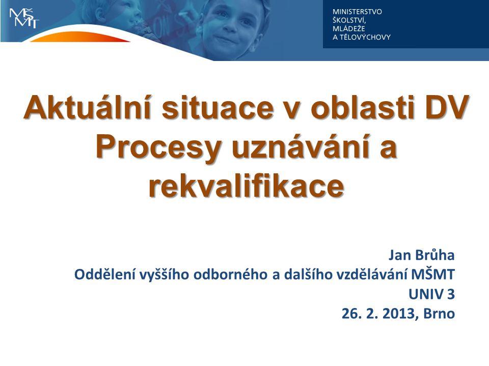 Aktuální situace v oblasti DV Procesy uznávání a rekvalifikace