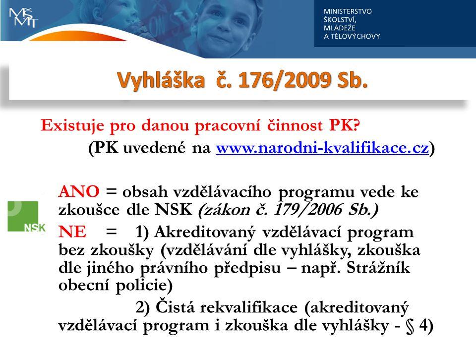 Vyhláška č. 176/2009 Sb. Existuje pro danou pracovní činnost PK