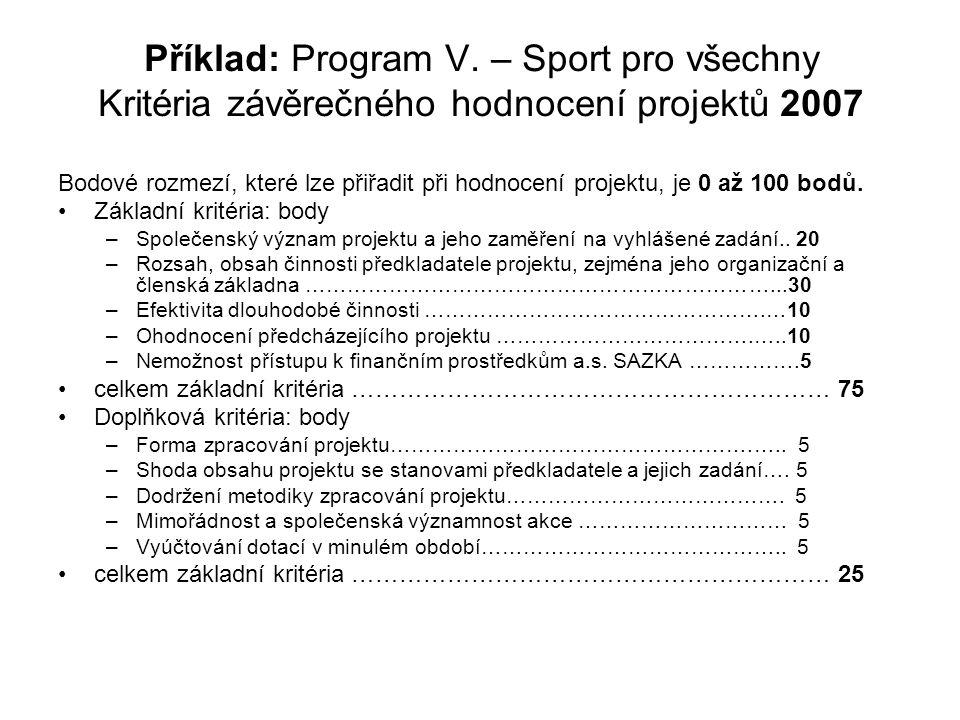 Příklad: Program V. – Sport pro všechny Kritéria závěrečného hodnocení projektů 2007