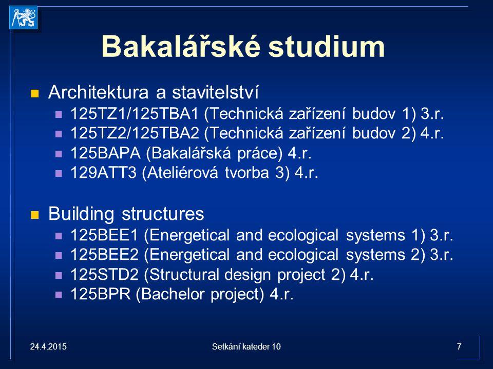 Bakalářské studium Architektura a stavitelství Building structures
