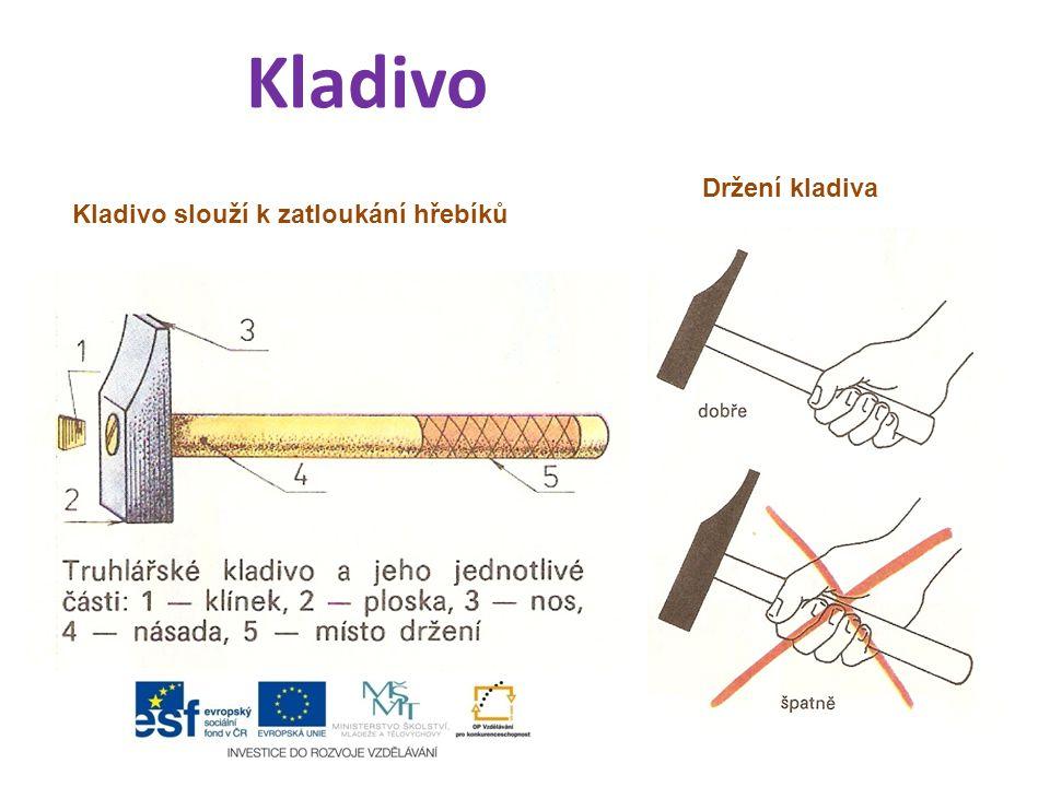 Kladivo Držení kladiva Kladivo slouží k zatloukání hřebíků