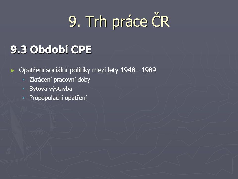 9. Trh práce ČR 9.3 Období CPE. Opatření sociální politiky mezi lety 1948 - 1989. Zkrácení pracovní doby.