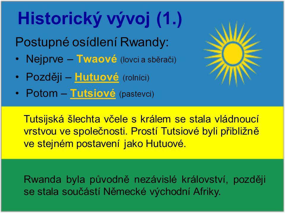 Historický vývoj (1.) Postupné osídlení Rwandy: