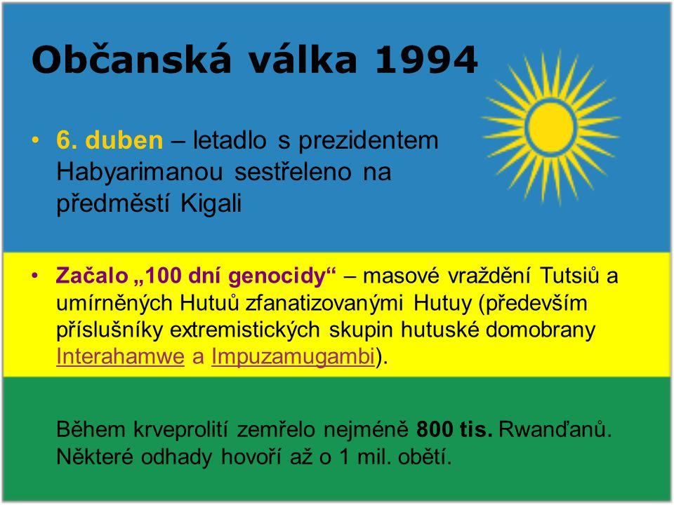 Občanská válka 1994 6. duben – letadlo s prezidentem Habyarimanou sestřeleno na předměstí Kigali.