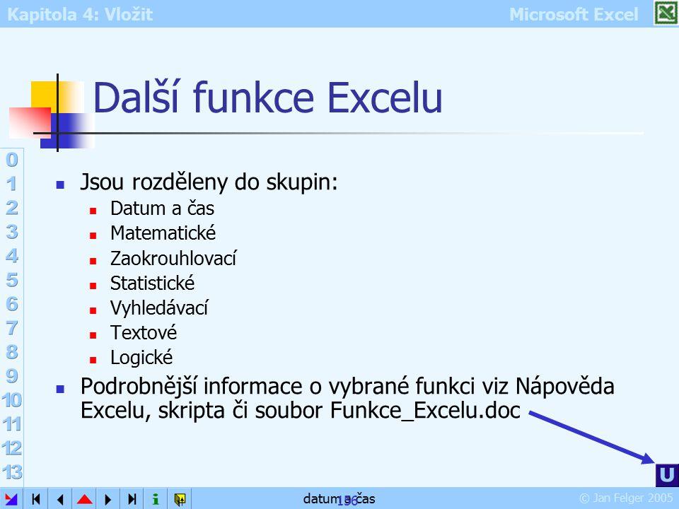 Další funkce Excelu Jsou rozděleny do skupin: