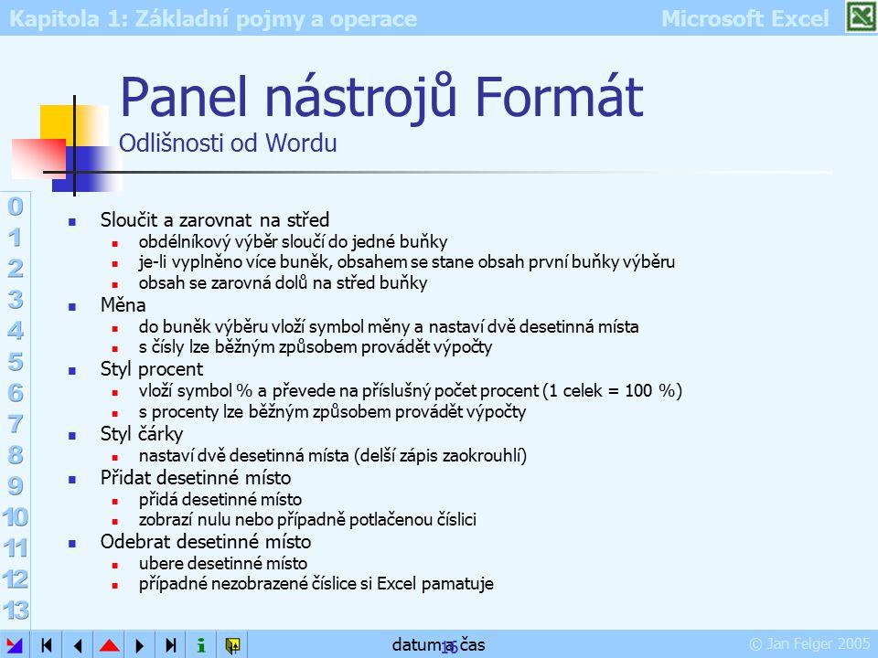 Panel nástrojů Formát Odlišnosti od Wordu