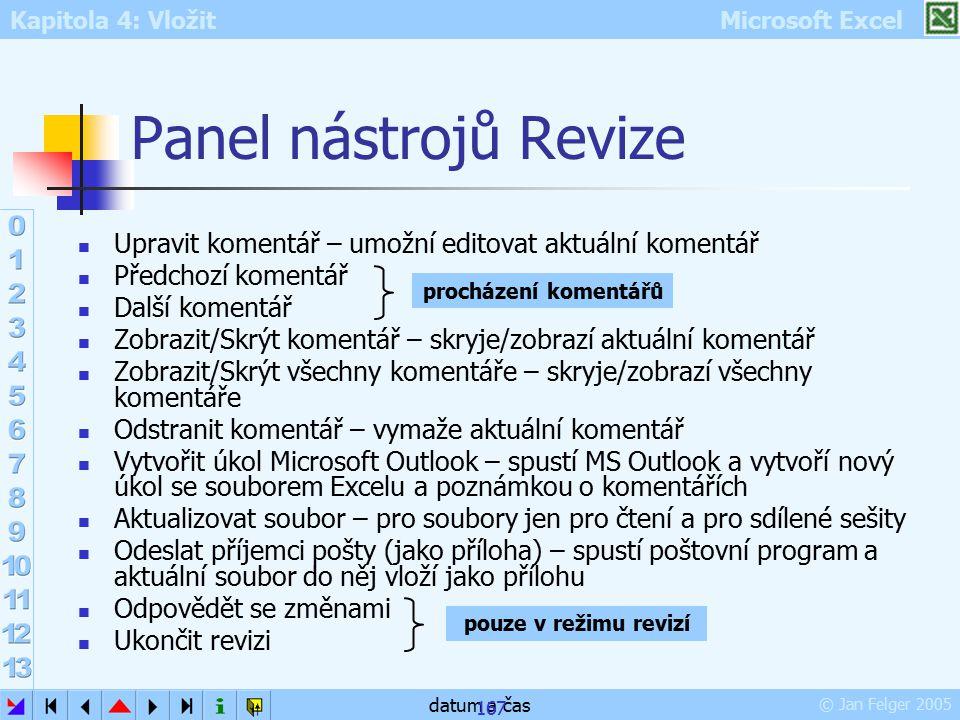 Panel nástrojů Revize Upravit komentář – umožní editovat aktuální komentář. Předchozí komentář. Další komentář.