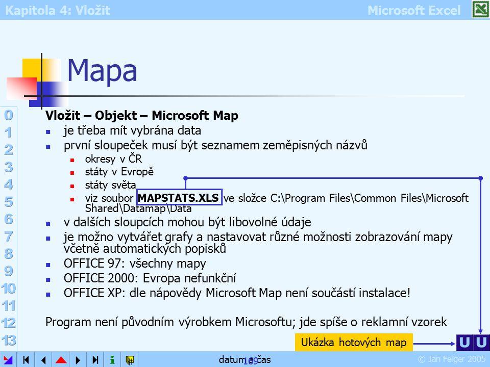 Mapa Vložit – Objekt – Microsoft Map je třeba mít vybrána data