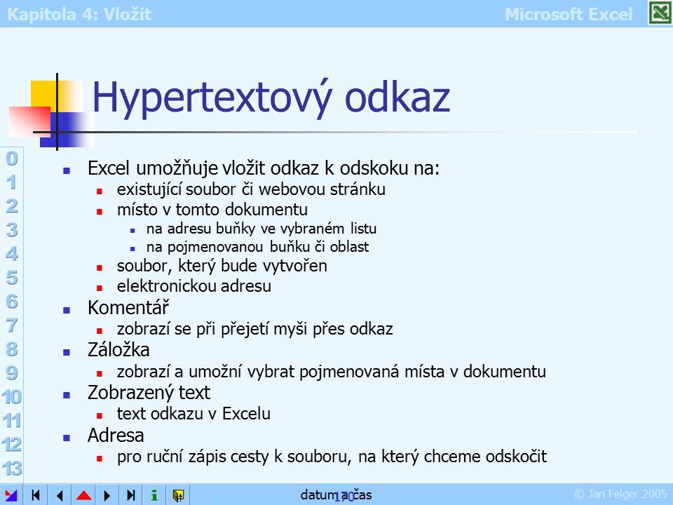 Hypertextový odkaz Excel umožňuje vložit odkaz k odskoku na: Komentář