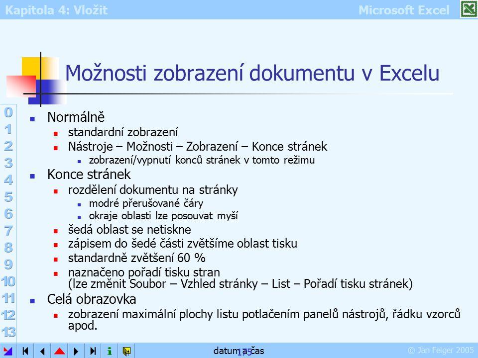 Možnosti zobrazení dokumentu v Excelu