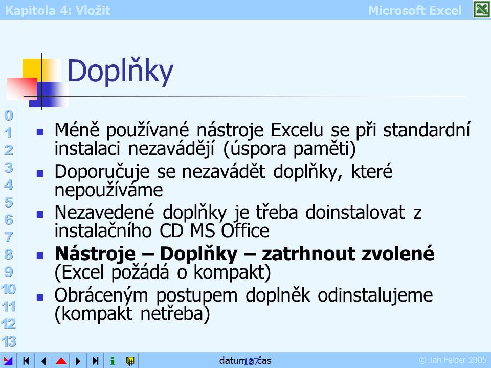 Doplňky Méně používané nástroje Excelu se při standardní instalaci nezavádějí (úspora paměti) Doporučuje se nezavádět doplňky, které nepoužíváme.