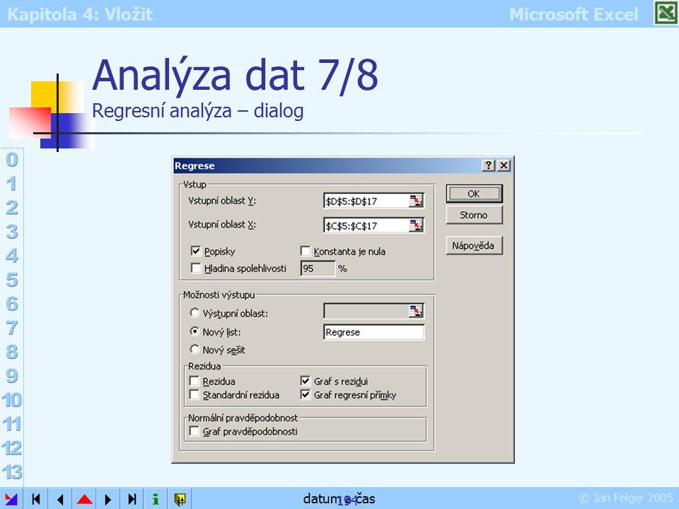 Analýza dat 7/8 Regresní analýza – dialog