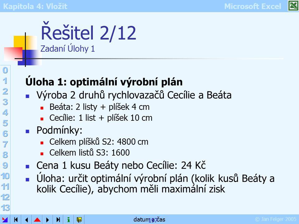 Řešitel 2/12 Zadaní Úlohy 1 Úloha 1: optimální výrobní plán