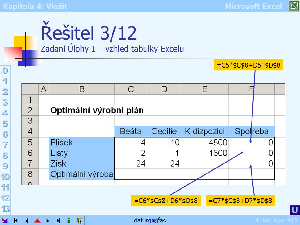Řešitel 3/12 Zadaní Úlohy 1 – vzhled tabulky Excelu