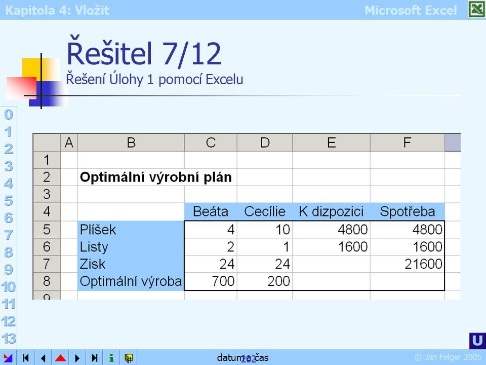 Řešitel 7/12 Řešení Úlohy 1 pomocí Excelu