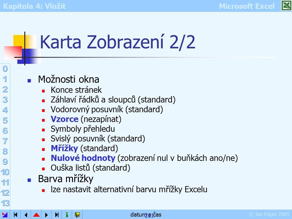 Karta Zobrazení 2/2 Možnosti okna Barva mřížky Konce stránek