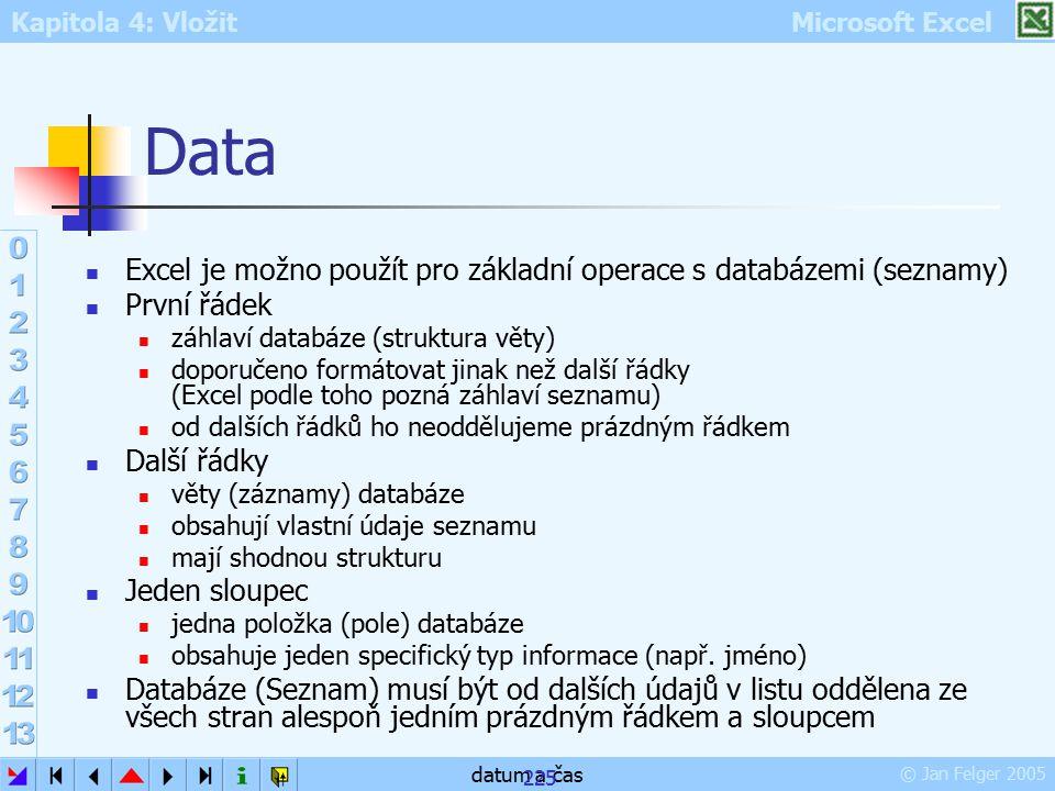Data Excel je možno použít pro základní operace s databázemi (seznamy)