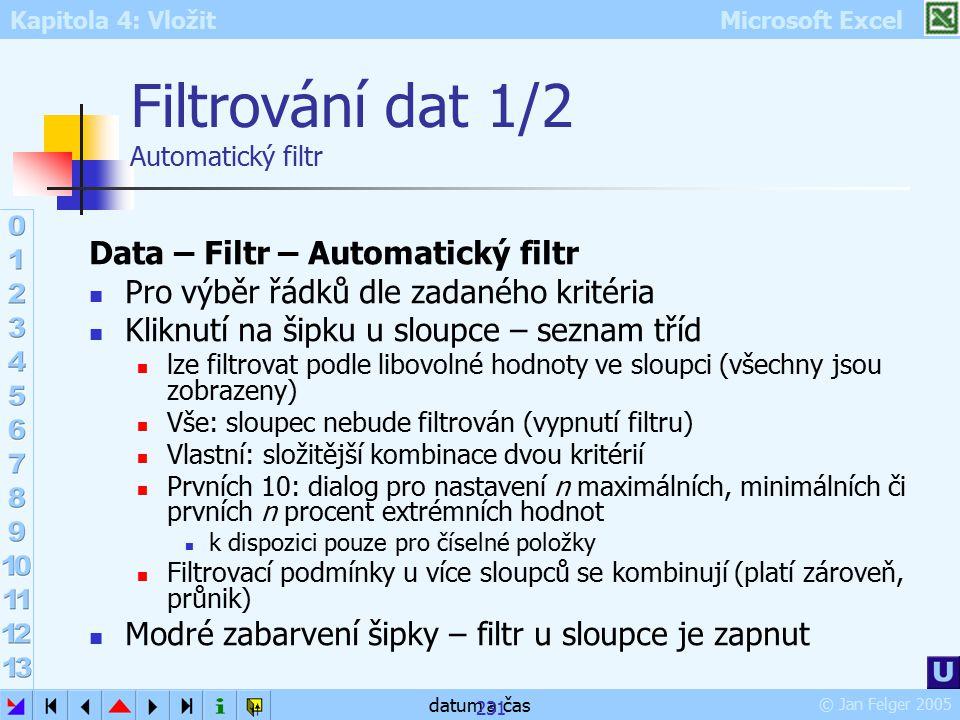 Filtrování dat 1/2 Automatický filtr