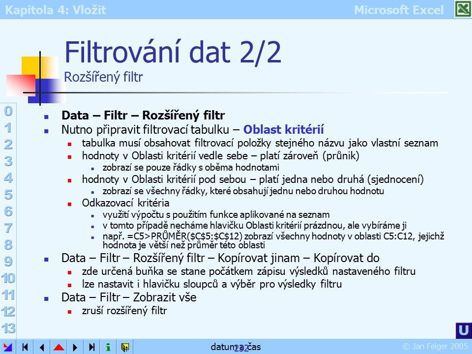 Filtrování dat 2/2 Rozšířený filtr