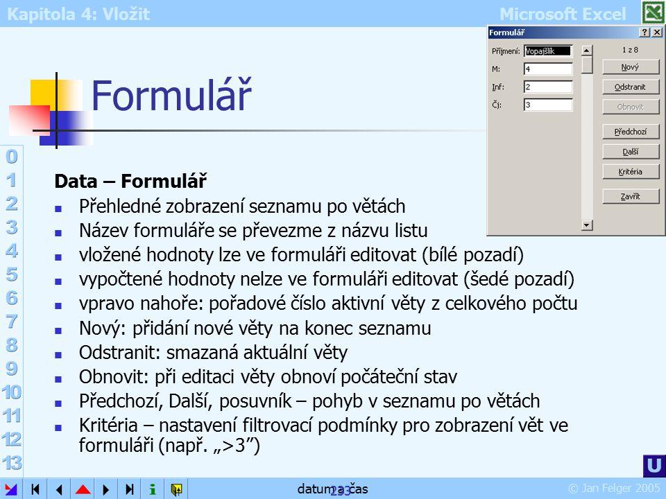 Formulář Data – Formulář Přehledné zobrazení seznamu po větách