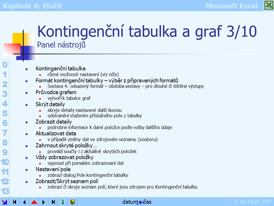 Kontingenční tabulka a graf 3/10 Panel nástrojů