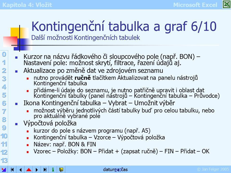Kontingenční tabulka a graf 6/10 Další možnosti Kontingenčních tabulek