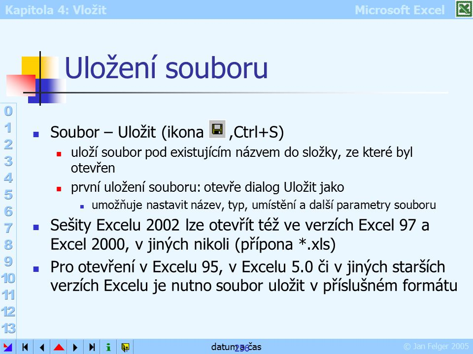 Uložení souboru Soubor – Uložit (ikona ,Ctrl+S)