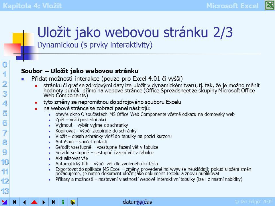 Uložit jako webovou stránku 2/3 Dynamickou (s prvky interaktivity)