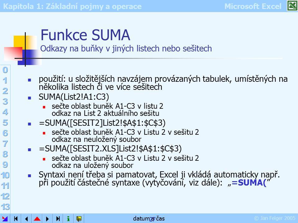 Funkce SUMA Odkazy na buňky v jiných listech nebo sešitech
