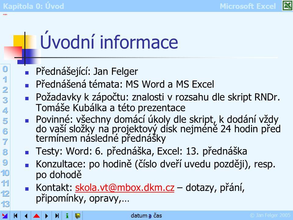 Úvodní informace Přednášející: Jan Felger
