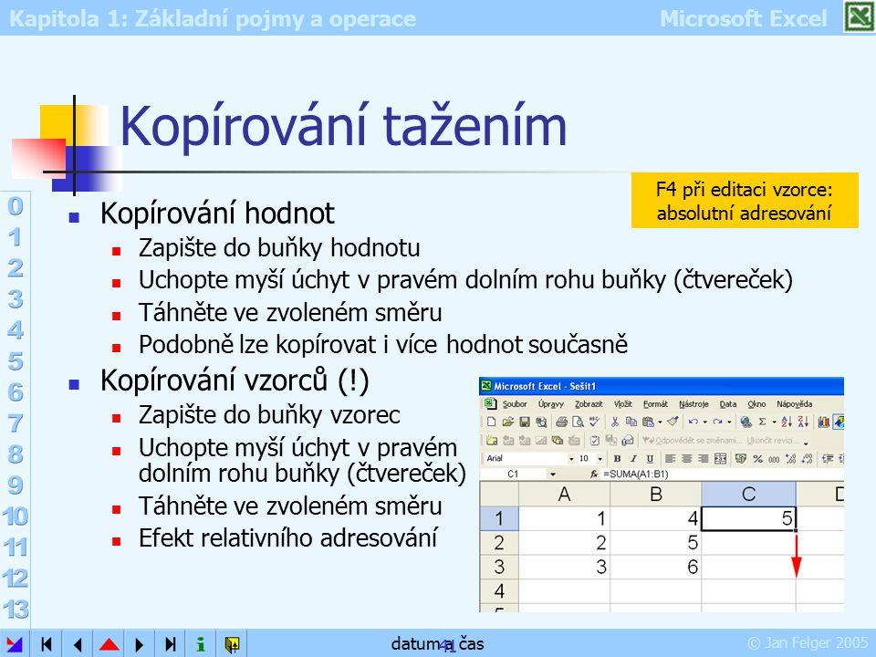 Kopírování tažením Kopírování hodnot Kopírování vzorců (!)