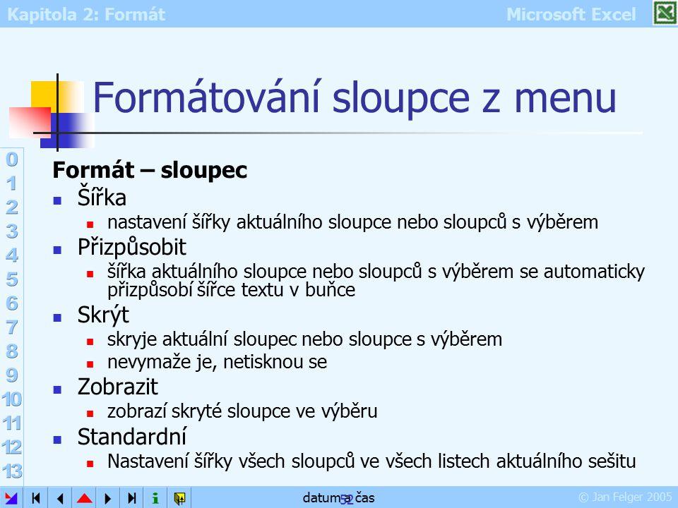 Formátování sloupce z menu