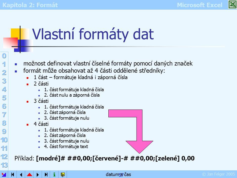 Vlastní formáty dat možnost definovat vlastní číselné formáty pomocí daných značek. formát může obsahovat až 4 části oddělené středníky: