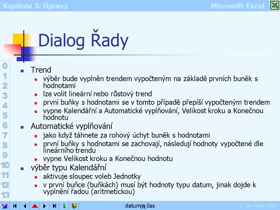 Dialog Řady Trend Automatické vyplňování výběr typu Kalendářní