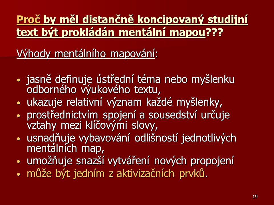 Proč by měl distančně koncipovaný studijní text být prokládán mentální mapou