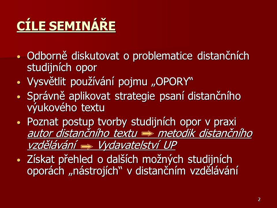 """CÍLE SEMINÁŘE Odborně diskutovat o problematice distančních studijních opor. Vysvětlit používání pojmu """"OPORY"""