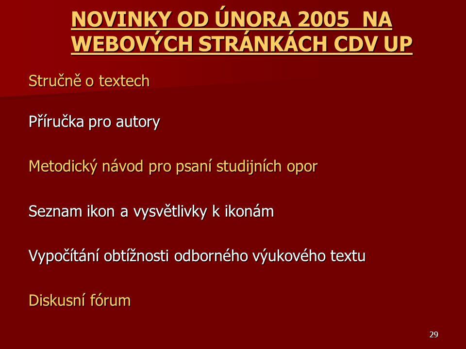 NOVINKY OD ÚNORA 2005 NA WEBOVÝCH STRÁNKÁCH CDV UP