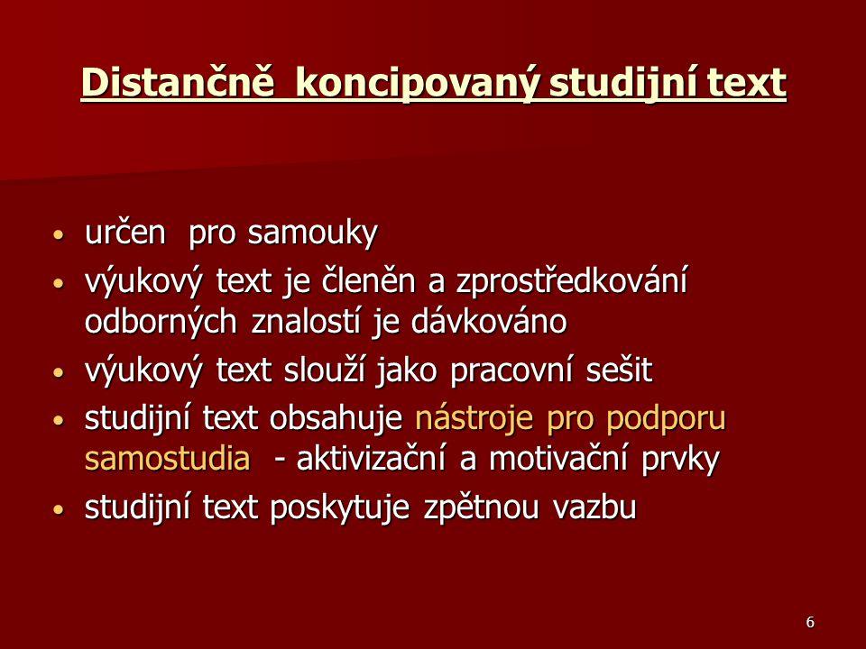 Distančně koncipovaný studijní text