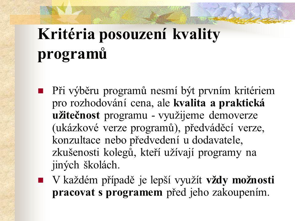 Kritéria posouzení kvality programů