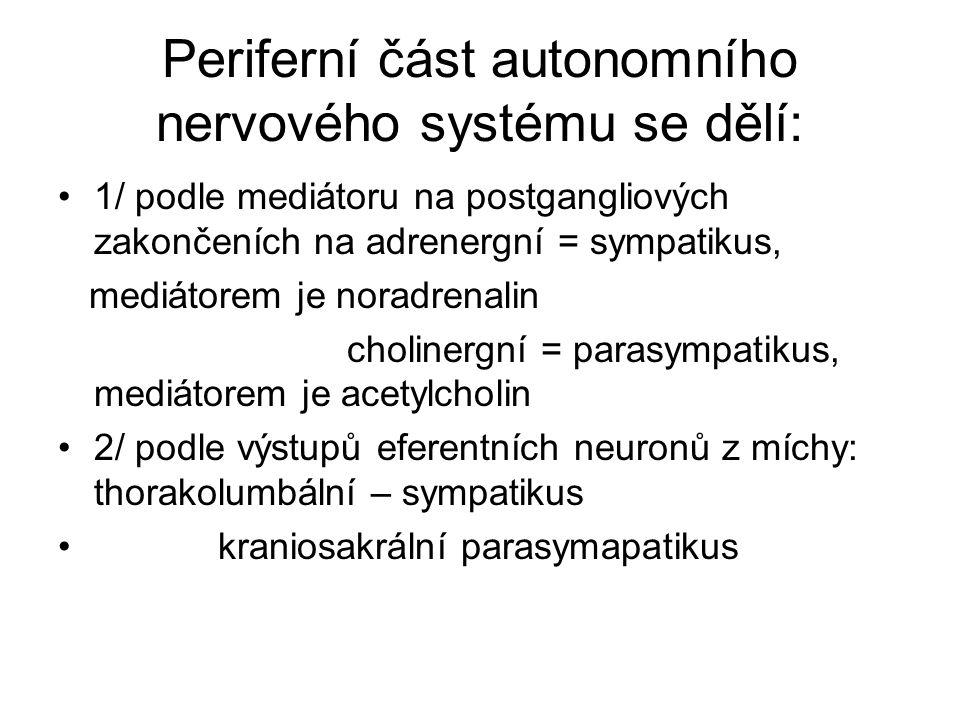 Periferní část autonomního nervového systému se dělí: