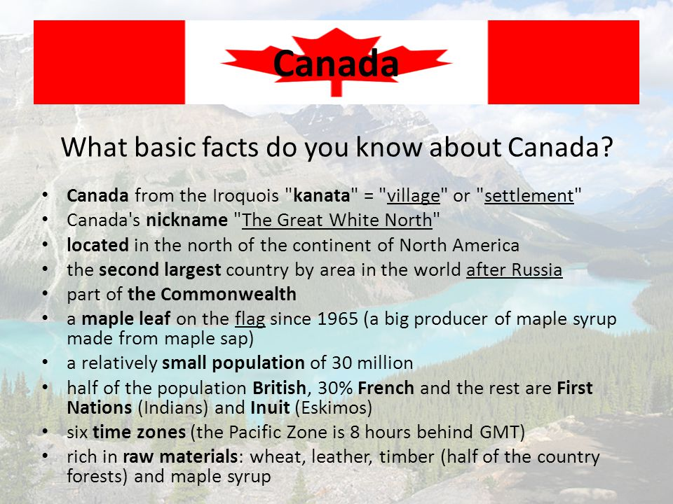 What basic facts do you know about Canada