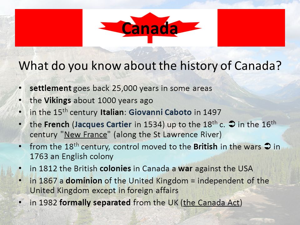 What do you know about the history of Canada