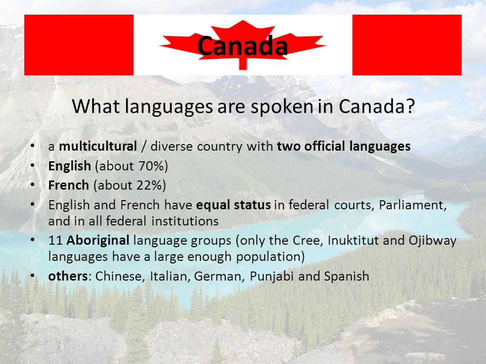 What languages are spoken in Canada